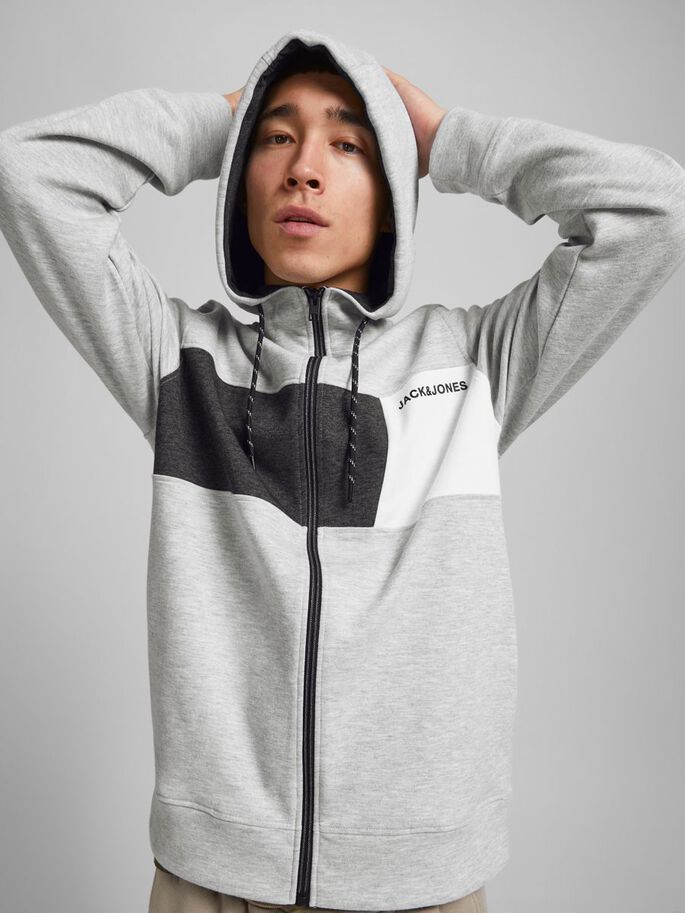 INTERLOCK SWEAT ZIP HOODIE, Light Grey Melange, large
