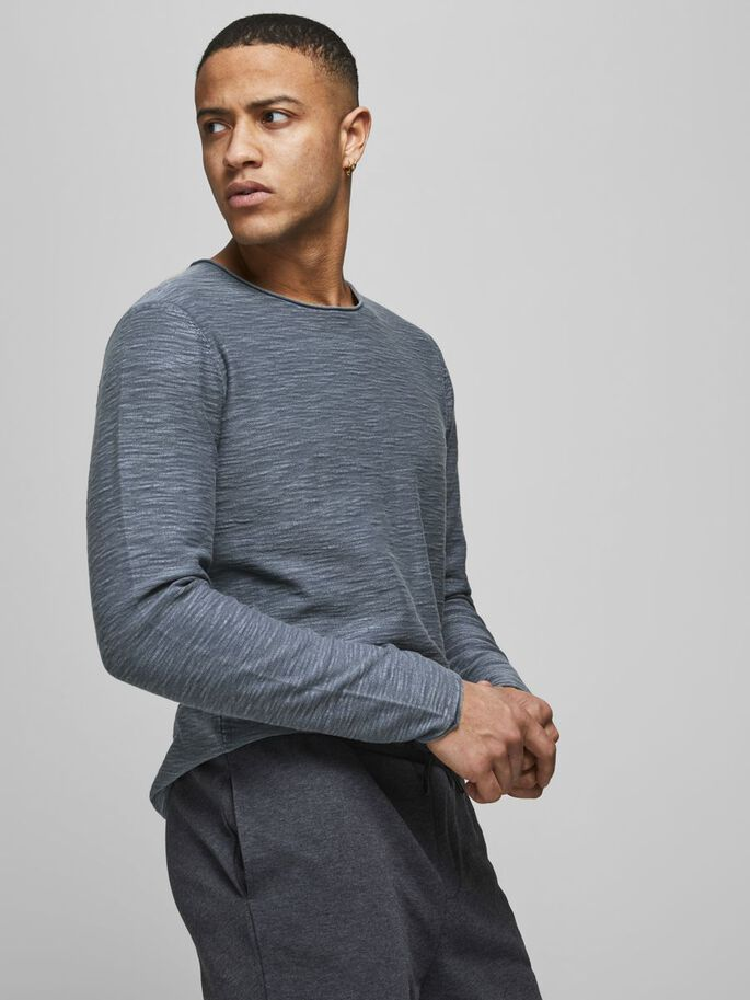 ORGANIC COTTON KNITTED PULLOVER, Ensign Blue, large