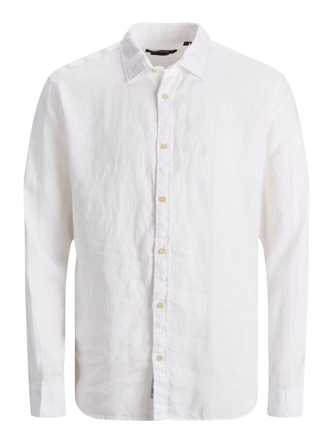 LIGHTWEIGHT LINEN SHIRT, White, large