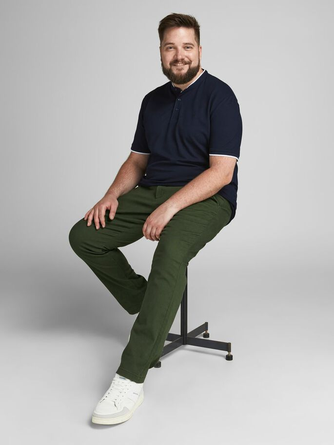 MARCO DAVE PLUS SIZE CHINOS, Forest Night, large