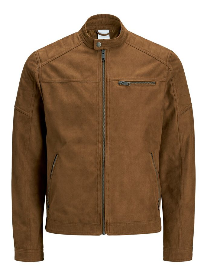 FAUX LEATHER JACKET, Cognac, large