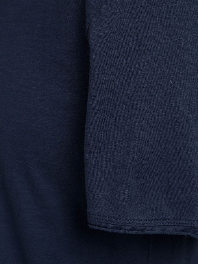 SPLIT-NECK T-SHIRT, Mood Indigo, large