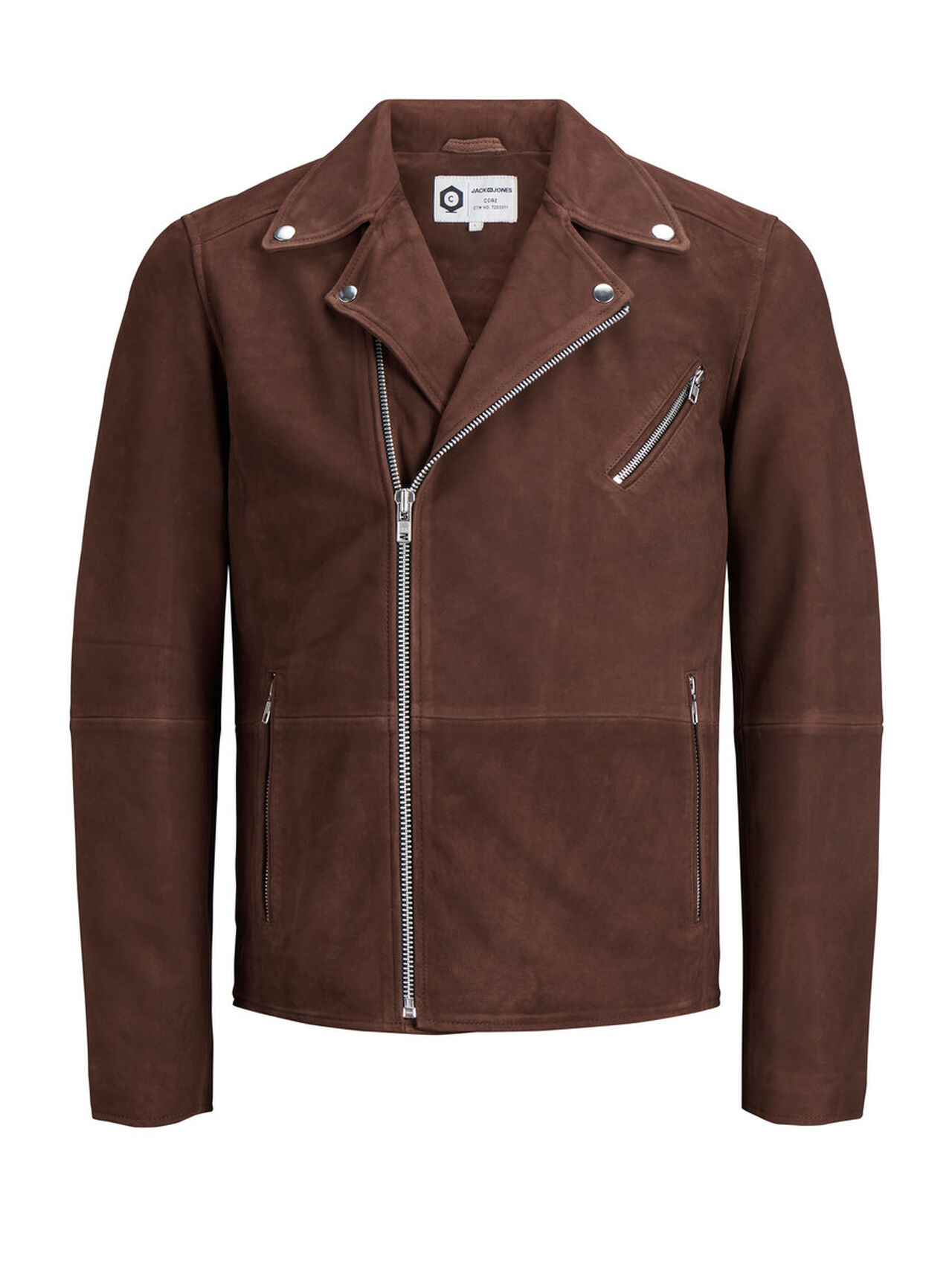 JACK & JONES Classic Leather Jacket Men Brown