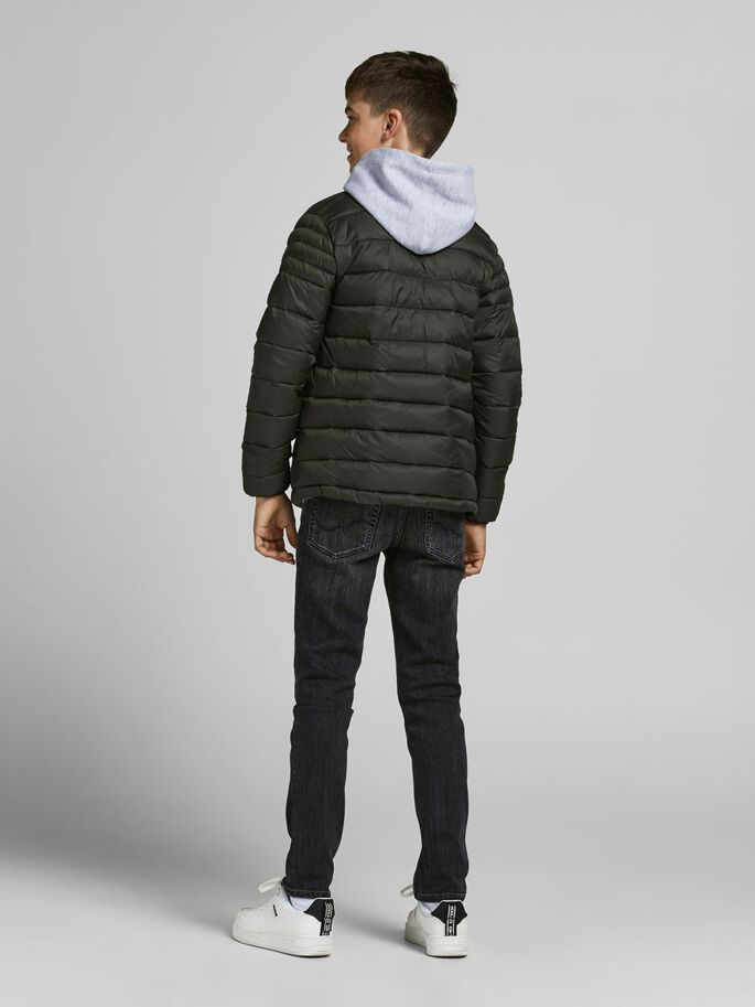BOYS HIGH NECK PUFFER JACKET, Forest Night, large