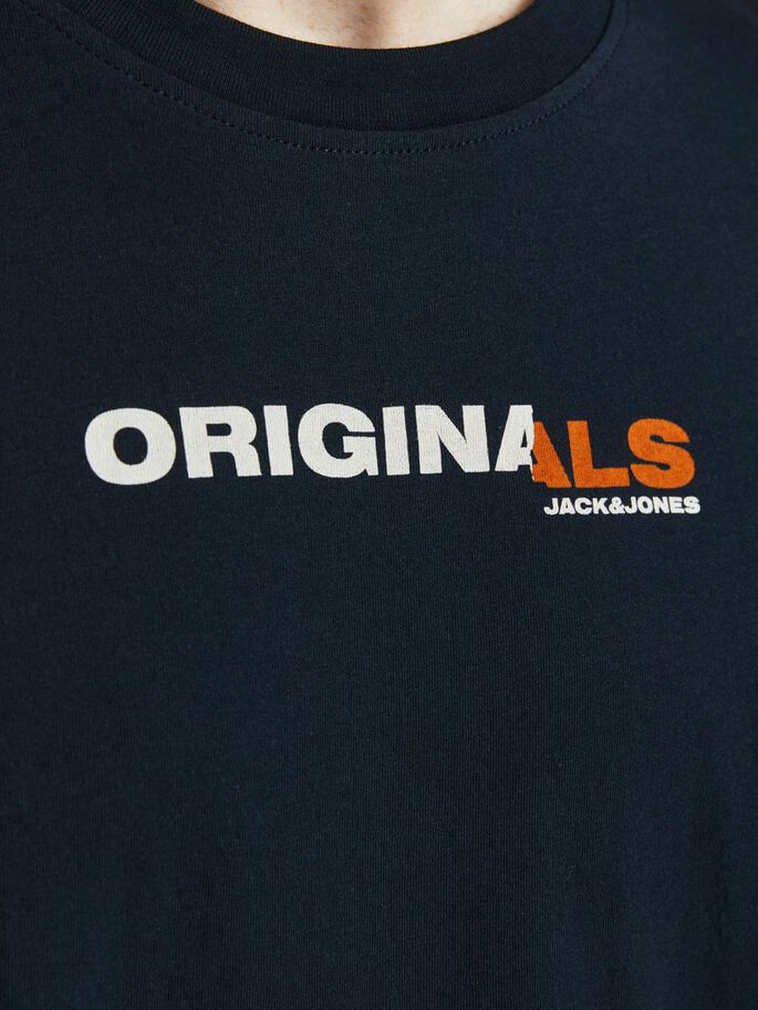 FRONT AND BACK PRINT T-SHIRT, Navy Blazer, large