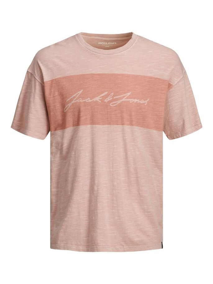 BOXY FIT BLOCK STREEP T-SHIRT, Peachskin, large
