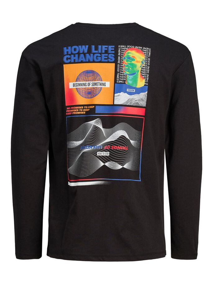 RELAXED FIT LONG-SLEEVED T-SHIRT, Black, large