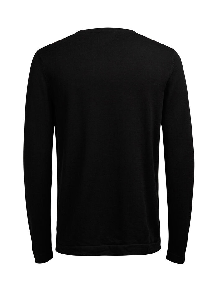 SIMPLE KNITTED PULLOVER, Black, large