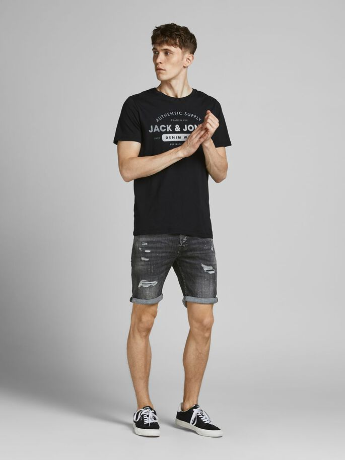 RICK FOX DENIM SHORTS, Black Denim, large