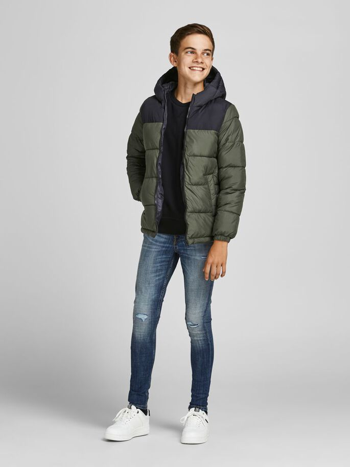 BOYS HOODED PUFFER JACKET, Forest Night, large