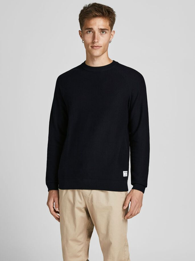 BLOCK STRIPE KNITTED PULLOVER, Black, large