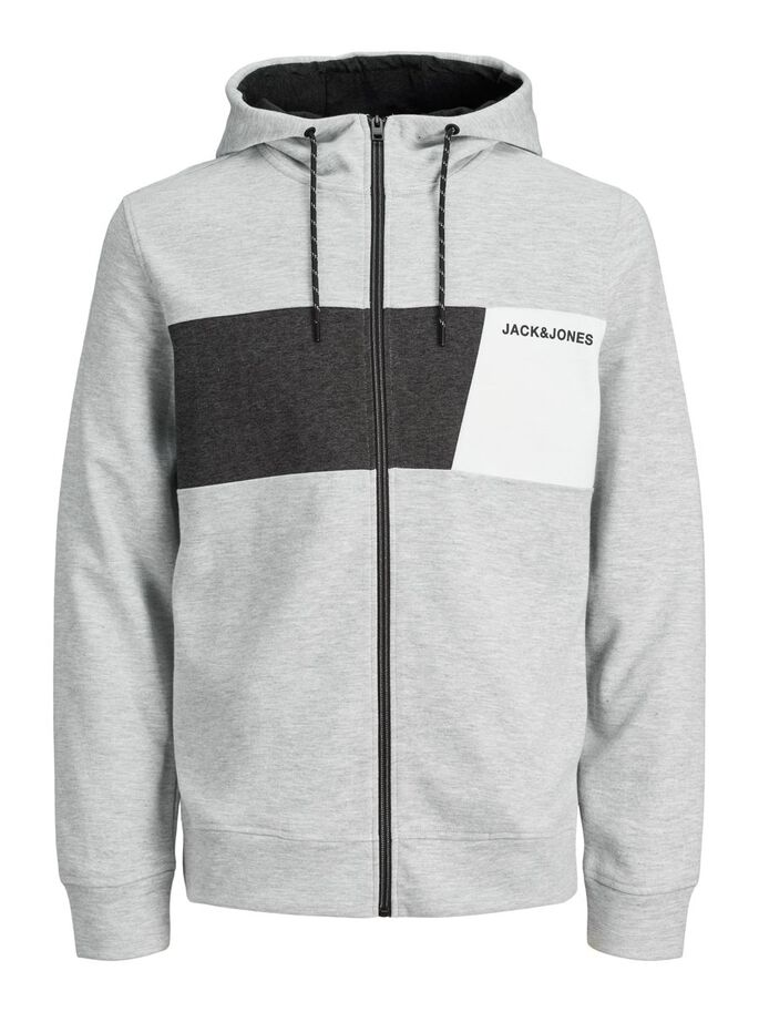 INTERLOCK SWEAT RITSSLUITING HOODIE, Light Grey Melange, large