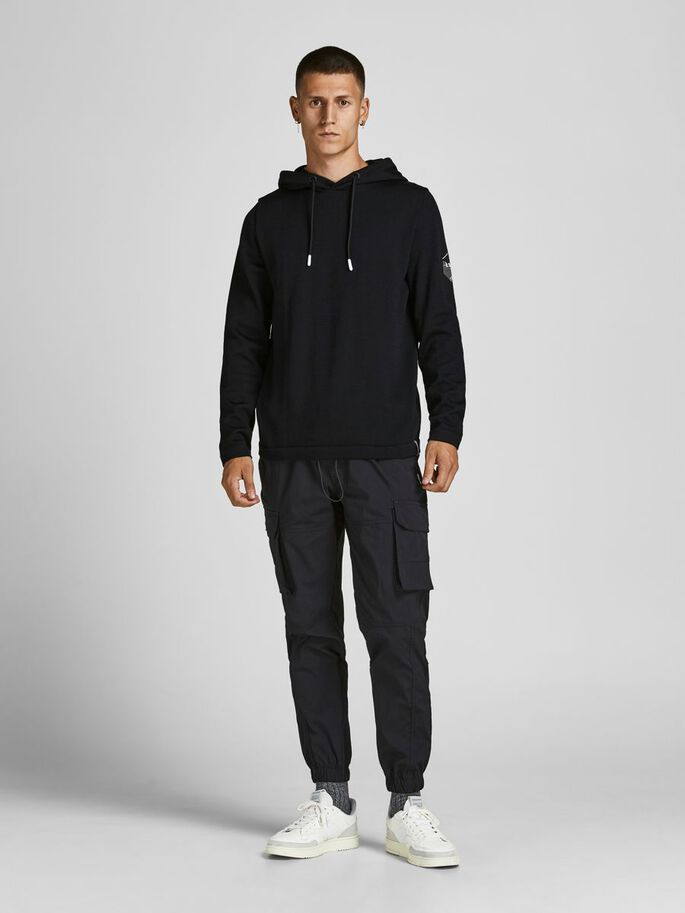 HOODED KNITTED PULLOVER, Black, large