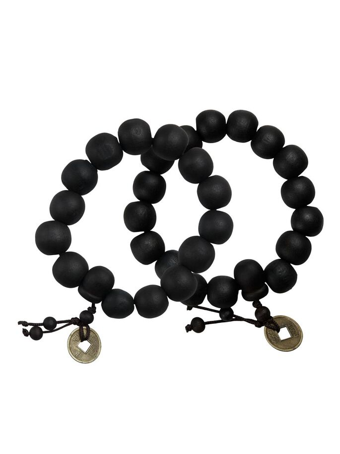 LOT DE 2 CHARME DE PERLES BRACELET, Black, large