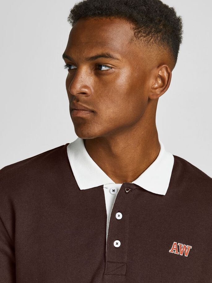 SWEAT LONG-SLEEVED POLO, Seal Brown, large