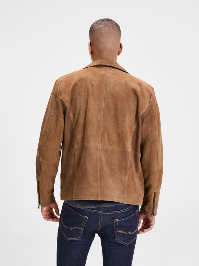 SUEDE JACKET, Brown Stone, large