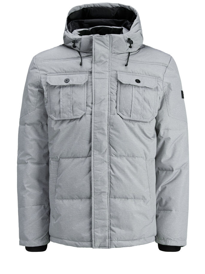 PADDED PUFFER JACKET, Light Grey Melange, large