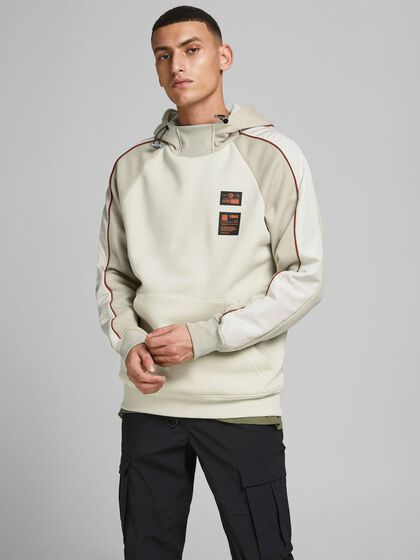 BRUSHED COLOUR BLOCK HOODIE