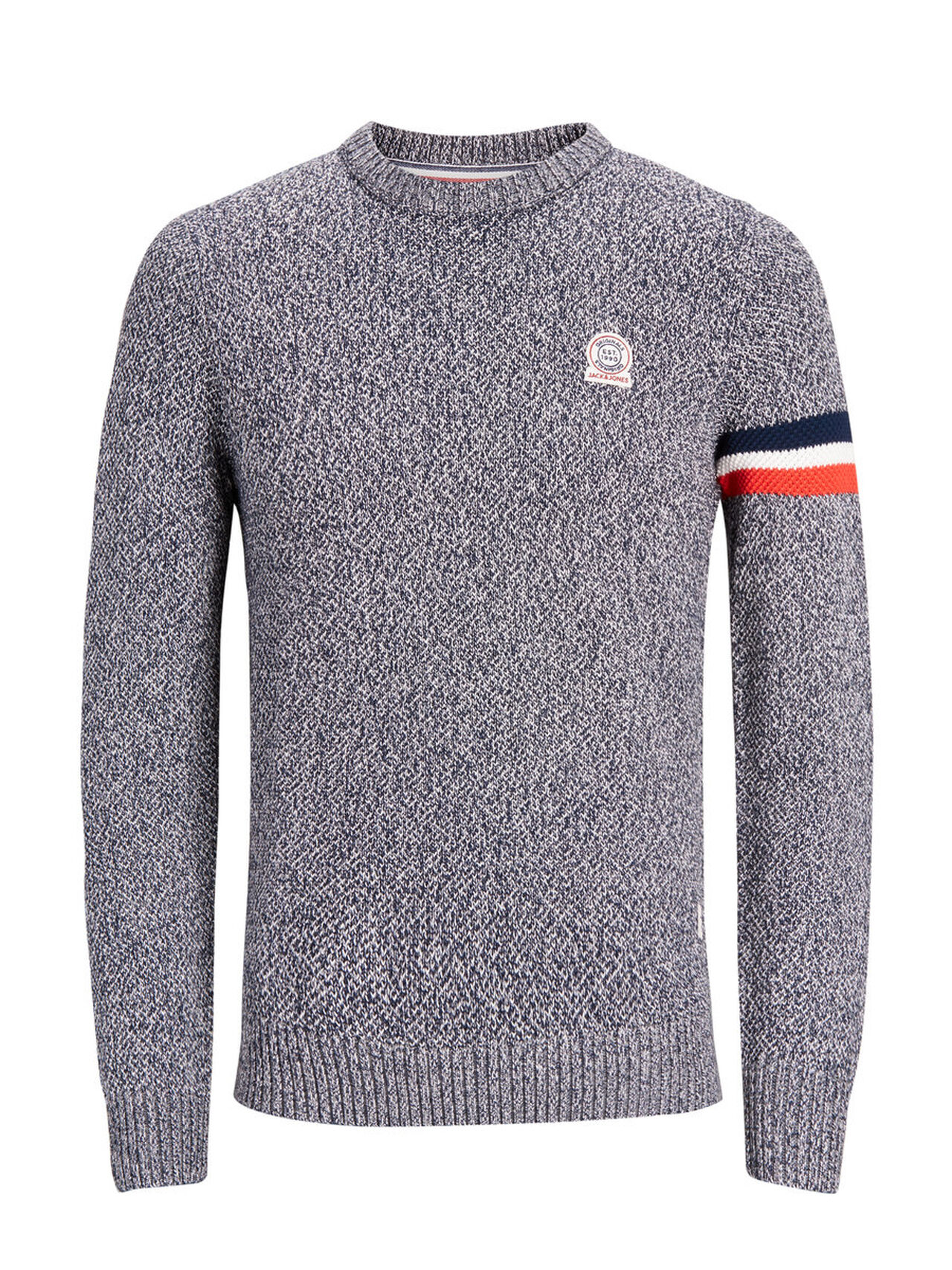 JACK & JONES Stripe Detail Knitted Pullover Men Grey
