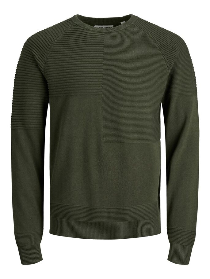 TEXTURED KNITTED PULLOVER, Forest Night, large