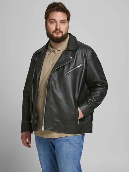 COW LEATHER PLUS SIZE LEATHER JACKET