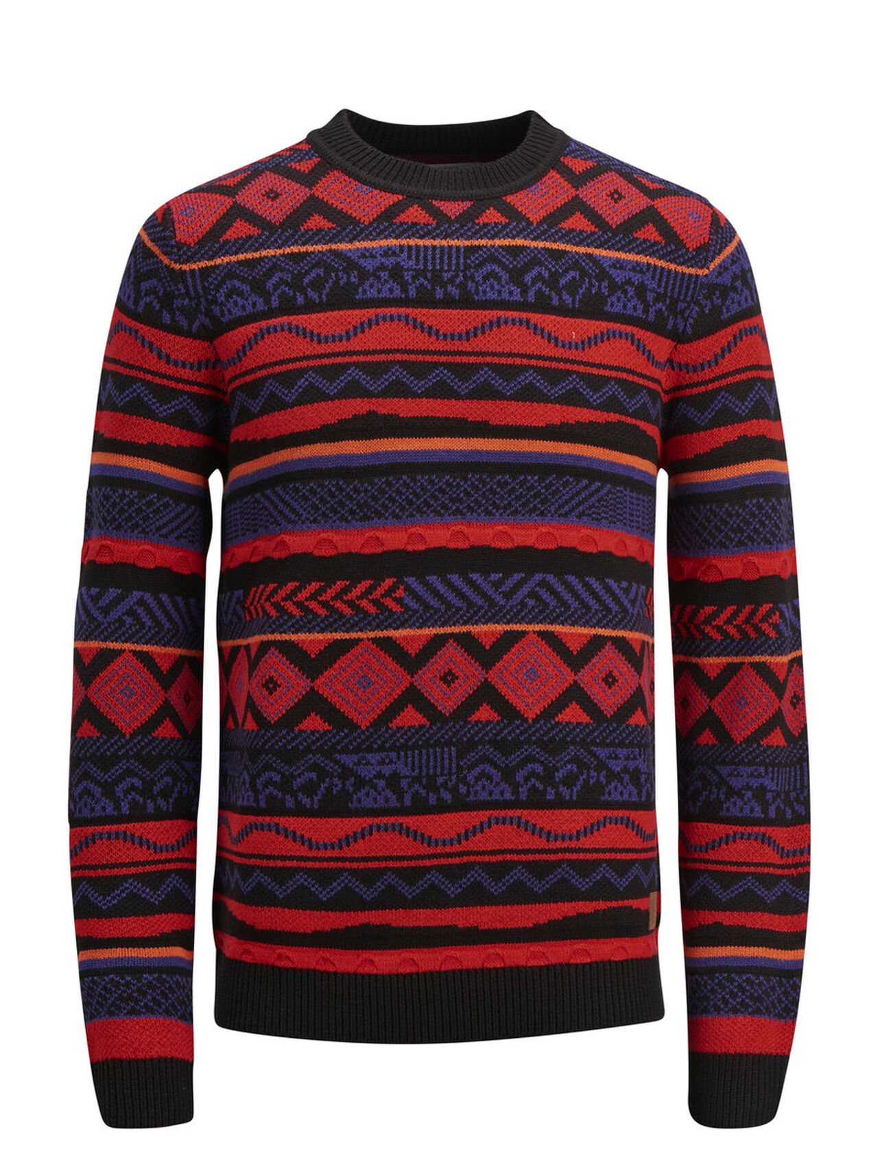 JACK & JONES Geometric Print Knitted Pullover Men Black