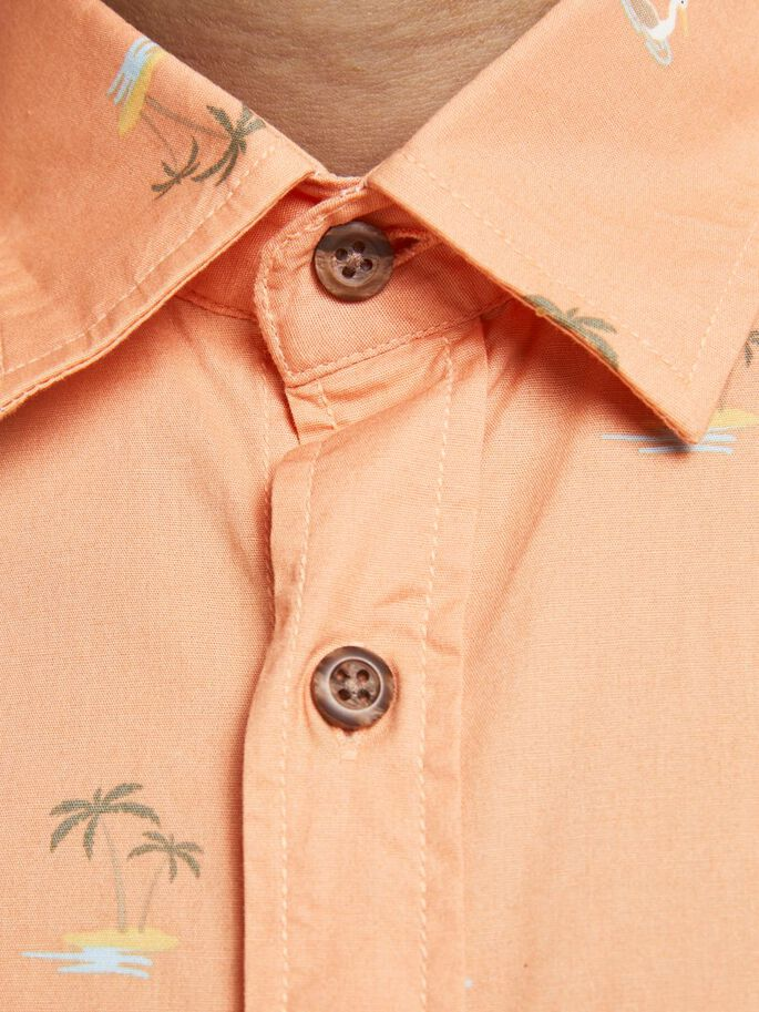 POPLIN MULTI ICONS SHORT SLEEVED SHIRT, Shell Coral, large