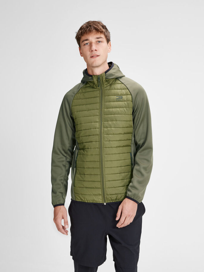 MULTI QUILTED JACKET, Olive Night, large