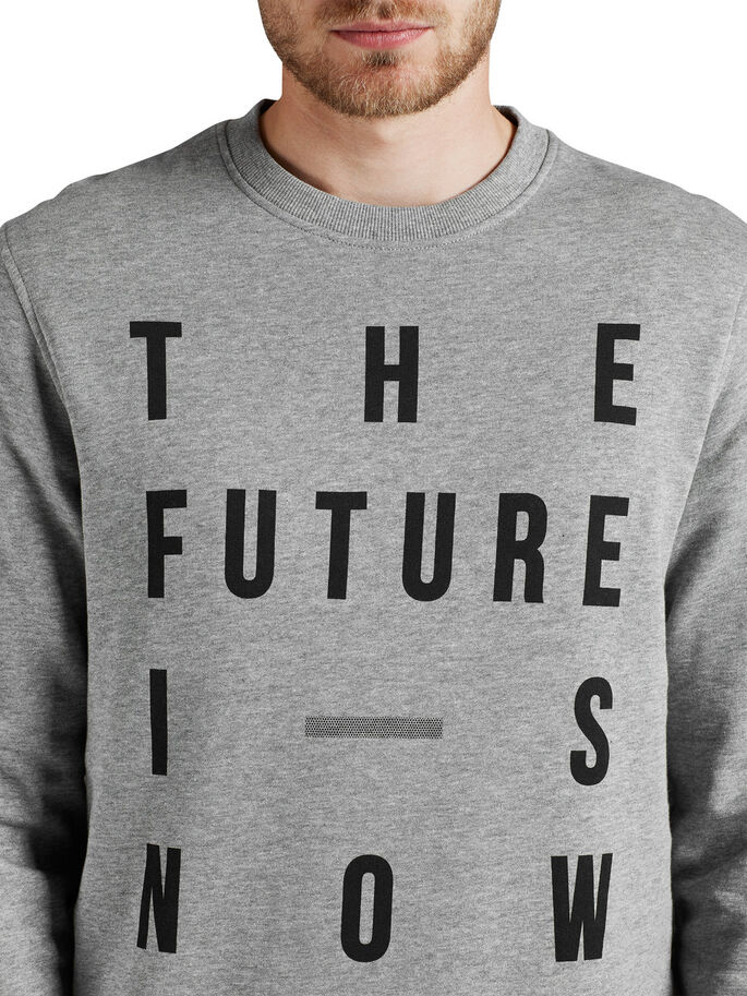 GRAPHIC SWEATSHIRT SWEATSHIRT, Light Grey Melange, large