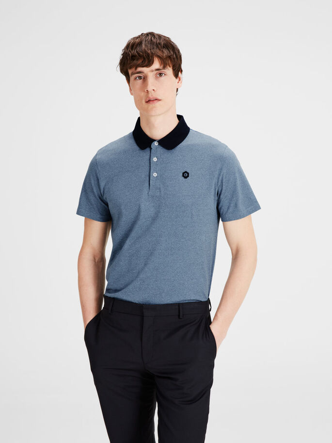 MELERT POLOSKJORTE, Faded Denim, large