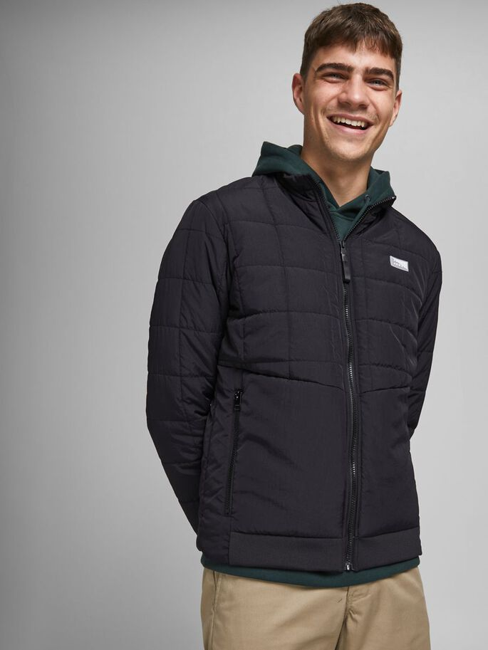 QUILTED ZIPPED JACKET, Black, large