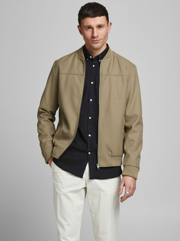 WOVEN COTTON BOMBER JACKET, String, large