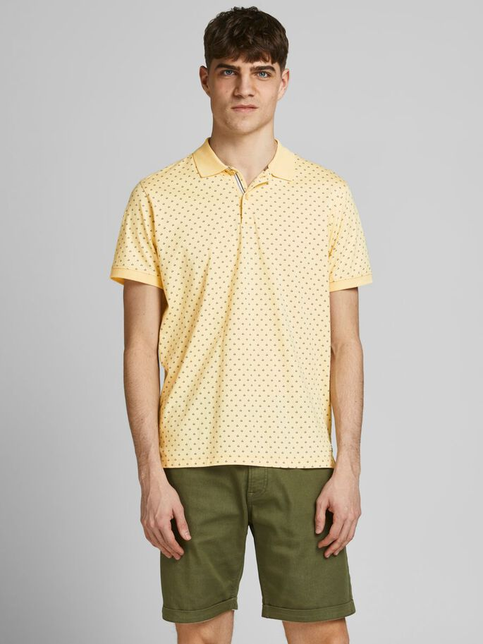 REGULAR FIT ALL-OVER PRINT POLO SHIRT, Banana Crepe, large