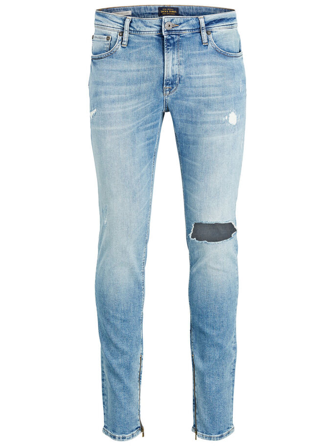 LIAM ZIP JOS 088 SKINNY FIT JEANS, Blue Denim, large