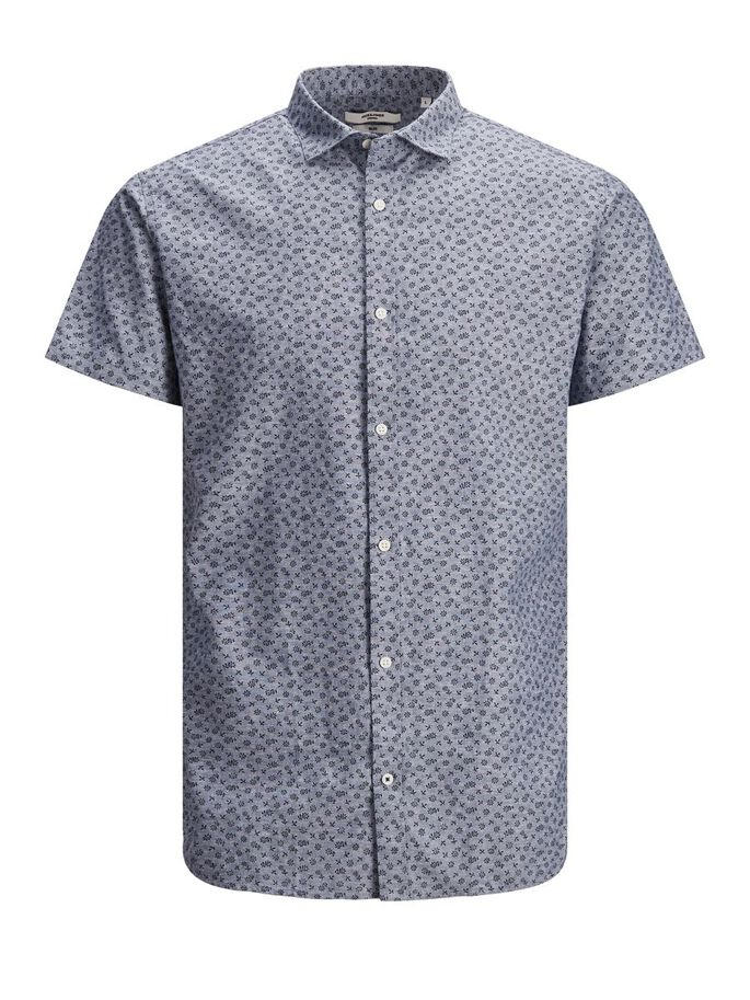 ALL OVER PRINTED SHORT SLEEVED SHIRT, Faded Denim, large