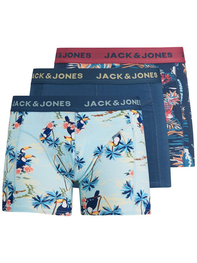 3-PACK BOTANICAL PRINT TRUNKS, Slate Rose, large