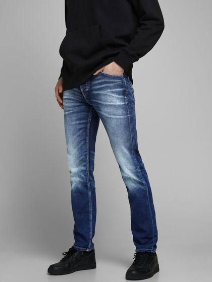 TIM LEON GE 227 INDIGO KNIT JEANS À COUPE SLIM/STRAIGHT