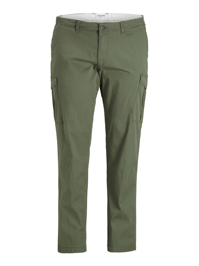 MARCO JOE AKM PLUS SIZE CARGO TROUSERS, Dusty Olive, large