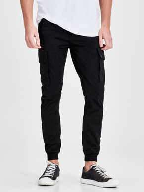 PAUL WARNER AKM 168 BLACK CARGO PANTS