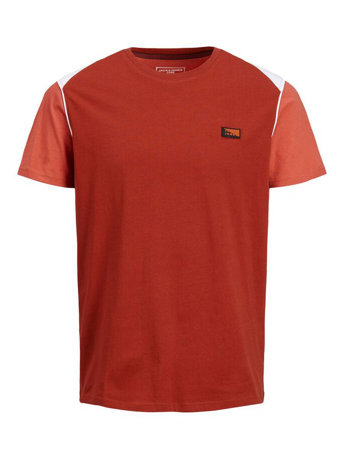 SLIM FIT ORGANIC COTTON T-SHIRT, Red Ochre, large