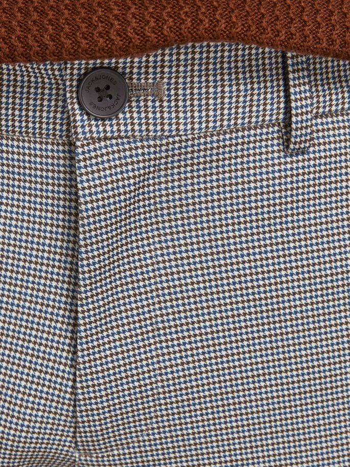 MARCO PHIL HOUNDSTOOTH CHINOS, Brown Stone, large