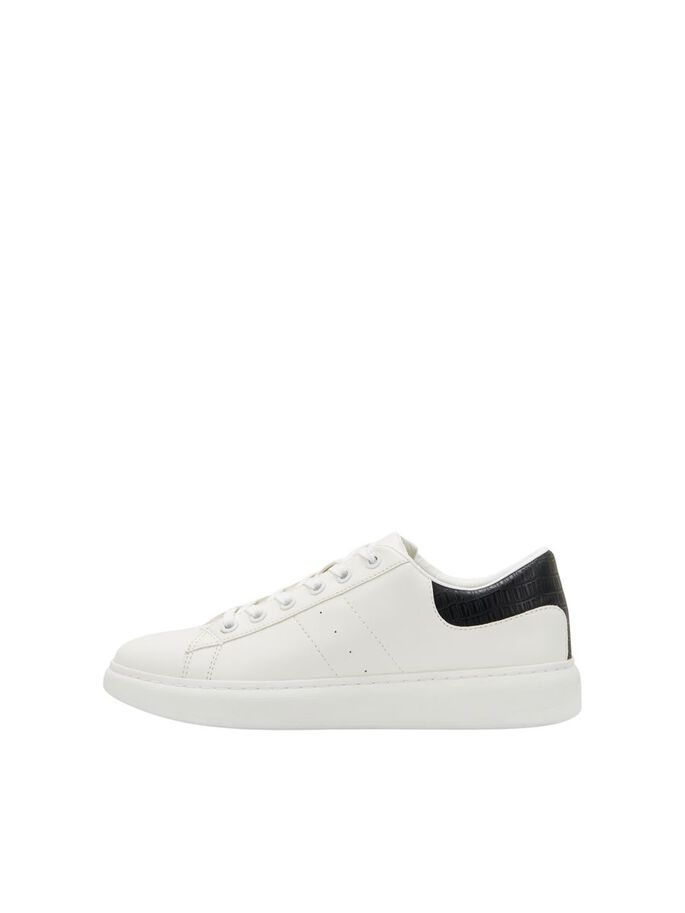 SMOOTH MATT FAUX LEATHER SNEAKERS, White, large