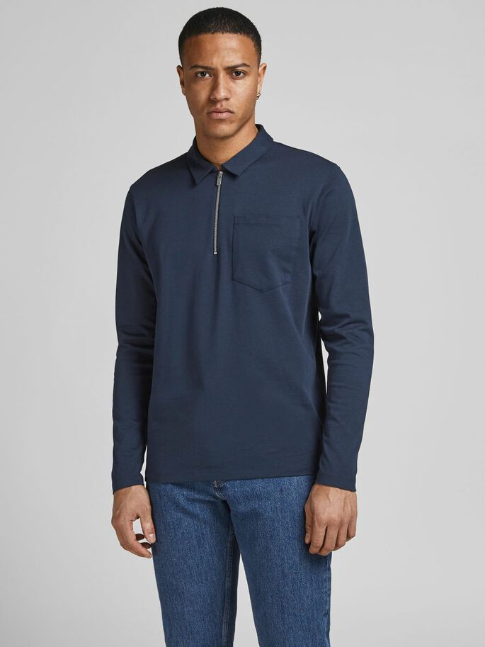 HALF ZIP SWEAT POLO SHIRT, New Navy, large