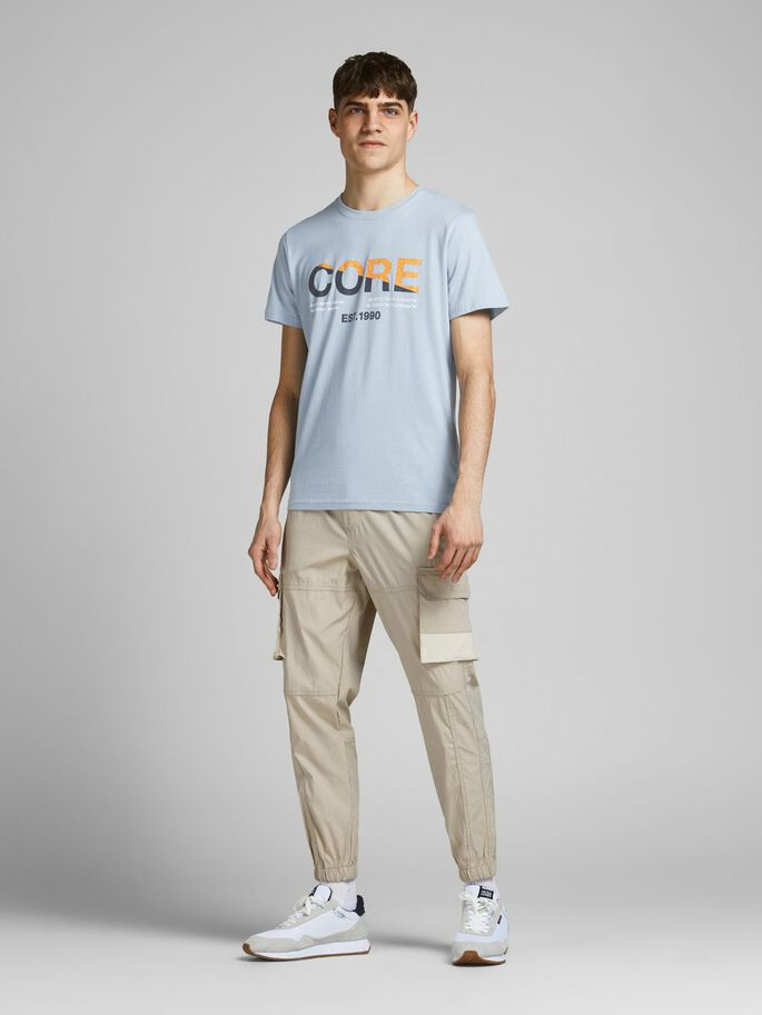 PAINETTU LOGOLLINEN SLIM FIT T-PAITA, Dusty Blue, large