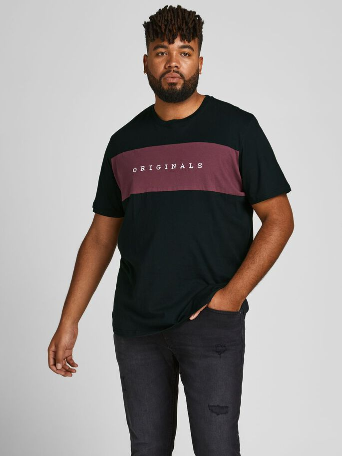 EMBROIDERED LOGO PLUS SIZE T-SHIRT, Tap Shoe, large