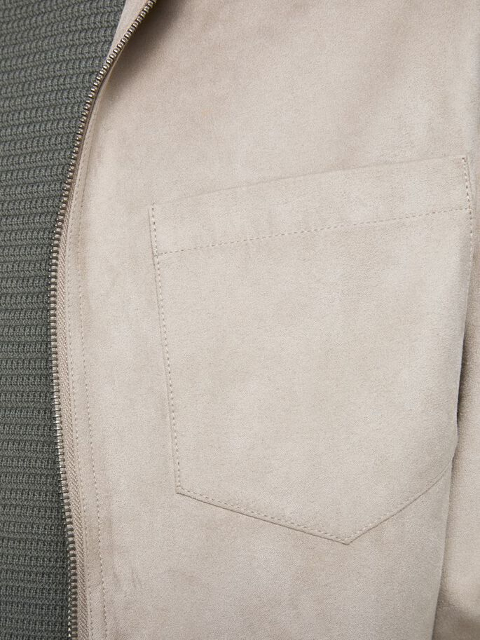 FAUX SUEDE SHIRT JACKET, White Pepper, large
