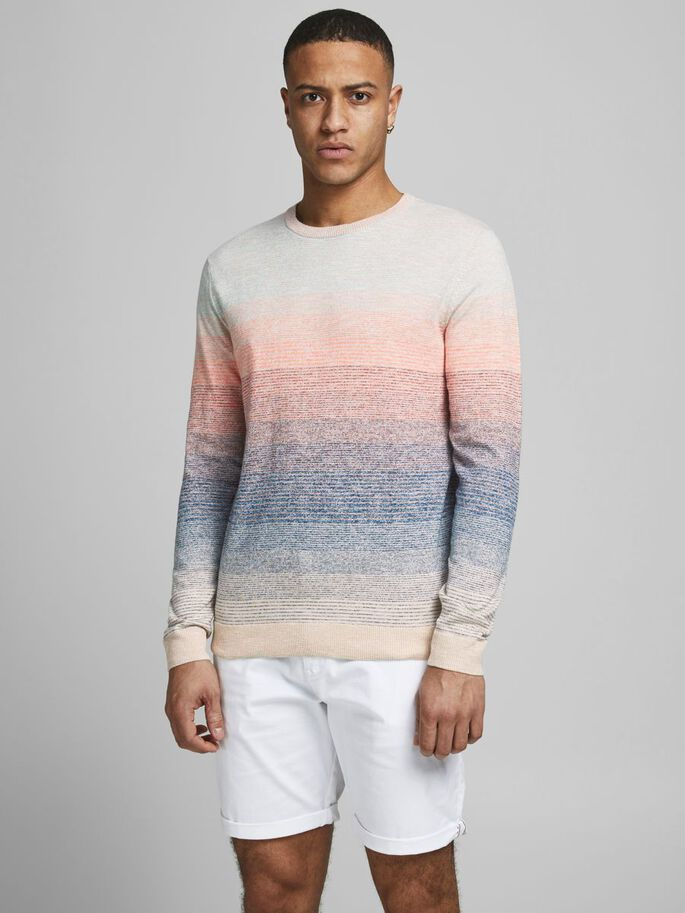 DIP DYE KNITTED JUMPER, Shell Coral, large