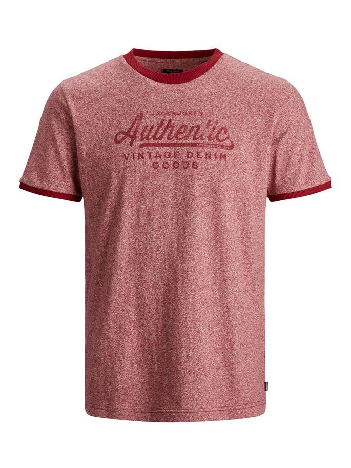 REGULAR FIT MELANGE T-SHIRT, Brick Red, large