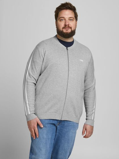 SPORTY ZIP PLUS SIZE CARDIGAN