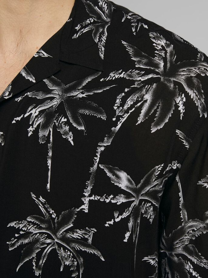 BOTANICAL PRINT SHORT SLEEVED SHIRT, Black, large